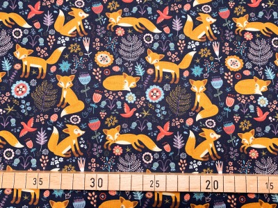Stoff Fuchs nachtblau 100 Baumwolle Patchwork
