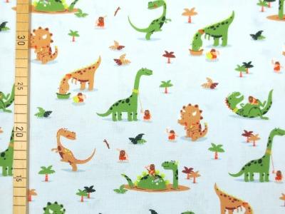Baumwollstoff Dinosaurier - hellblau - 100