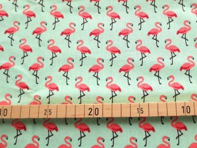 Baumwolle Flamingos - hellgrün - 100