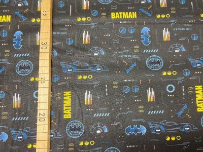 Batman Stoff Batman Schriftzug schwarz Batmobil