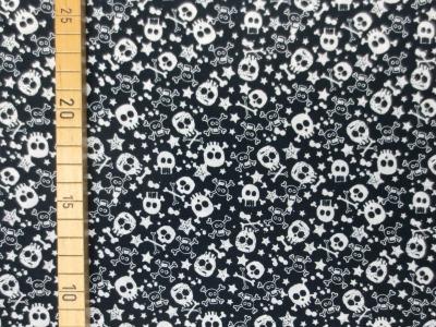 Baumwollstoff Totenköpfe - schwarz- 100 Baumwolle