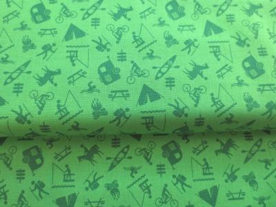 Stoff Camping - Baumwolle - hellgrün
