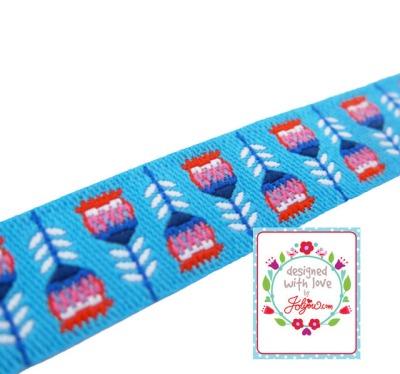 Webband Tulpe - blau - Blumenwebband