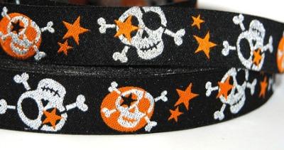 Webband Skull - schwarz - silber/orange