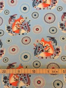Sommersweat Füchse hellblau