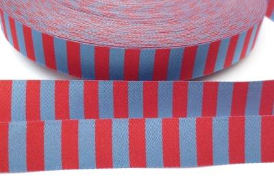 Webband Ringel - rot - blau