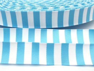 Webband Ringel - hellblau - weiß