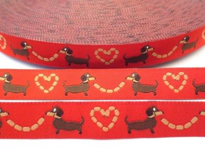 Webband Hunde rot Dackel Würschtl Wastl