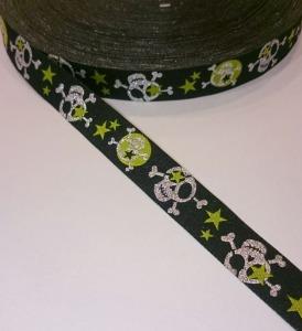 Webband Skull - schwarz - silber