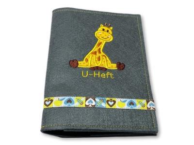 U-Heft-Hülle Giraffe - grauer Filz