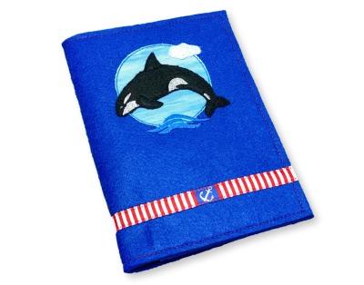 U-Heft-Hülle Orca blauer Filz mit Einsteckfach