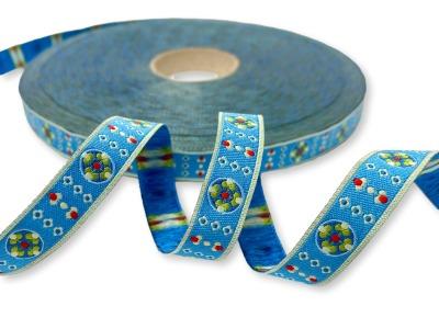 Webband Blumkees - himmelblau - Blumen