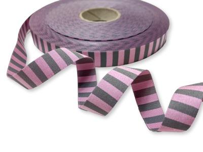 Webband Ringel - rosa - grau