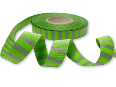 Webband Ringel - grün - grau
