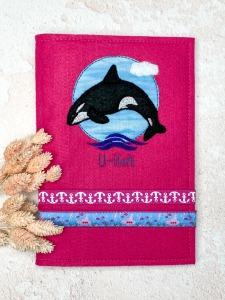 U-Heft-Hülle Orca pinker Filz mit Einsteckfach