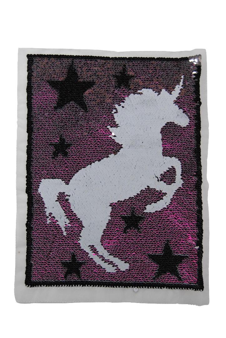 100000 Einhorn Sterne pink / silber zum aufnähen - 1