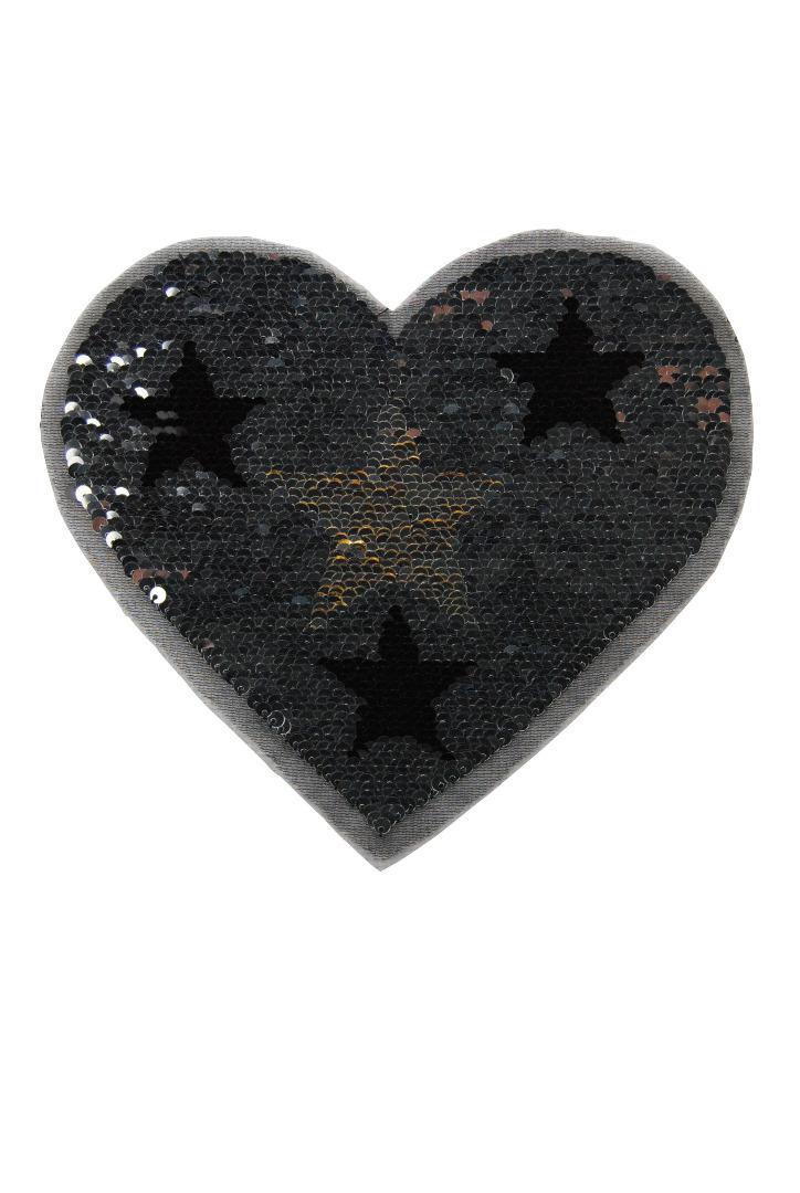 Herz silber/schwarz und schwarz/gold zum aufnähen - 1