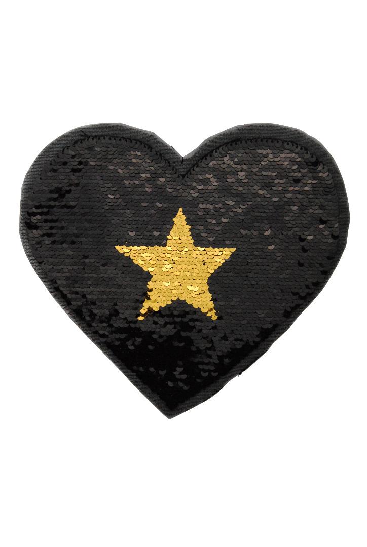 Herz silber/schwarz und schwarz/gold zum aufnähen - 2