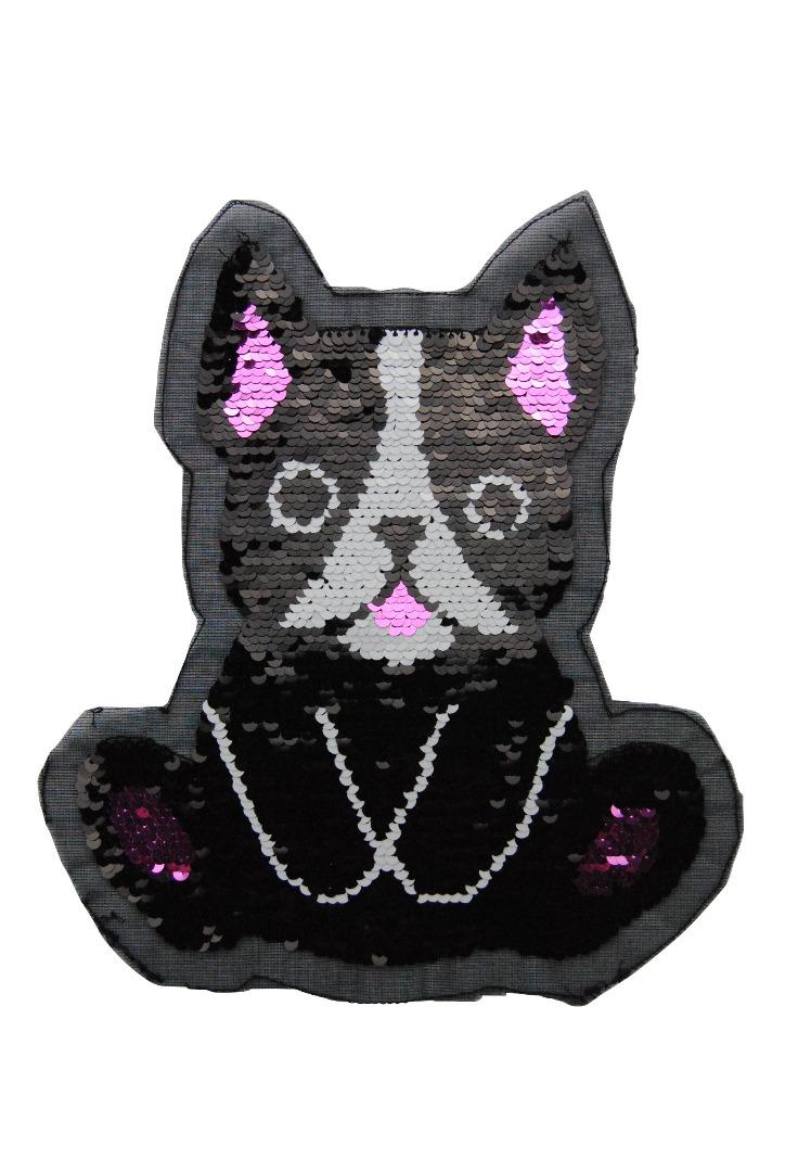Hund schwarz / weiss / pink zum aufnähen - 1