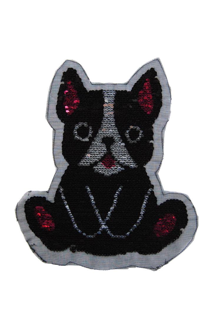 Hund schwarz / weiss / pink zum aufnähen - 2