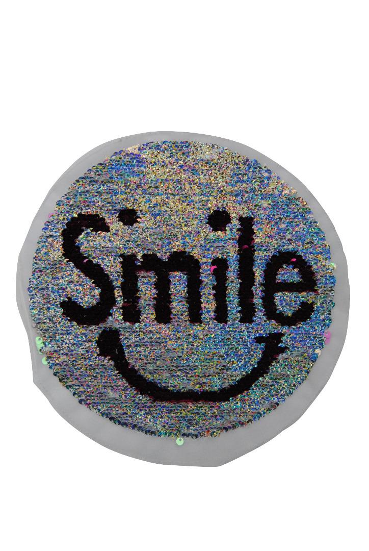 Smile perlmutt/schwarz und multiglitzer/pink zum aufnähen - 1