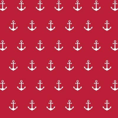 02800001 Baumwolle Stoff Anker Maritim rot