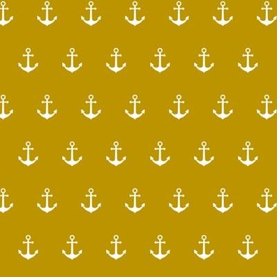 02800010 Baumwolle Stoff Anker Maritim senf