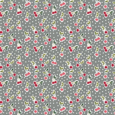 07653004 Baumwolle Stoff Kirschen Cherry Punkte