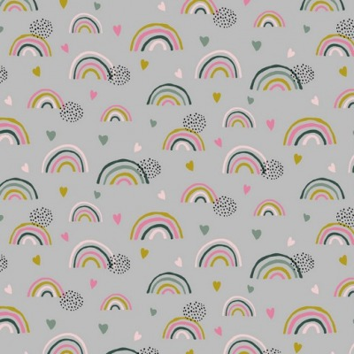 07712004 Jersey Stretch Rainbow Regenbogen Hearts
