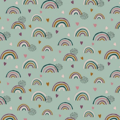 07712005 Jersey Stretch Rainbow Regenbogen Hearts