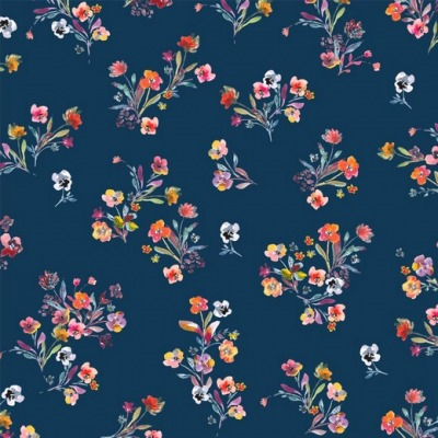07793009 Jersey Stretch Digital Flower navy