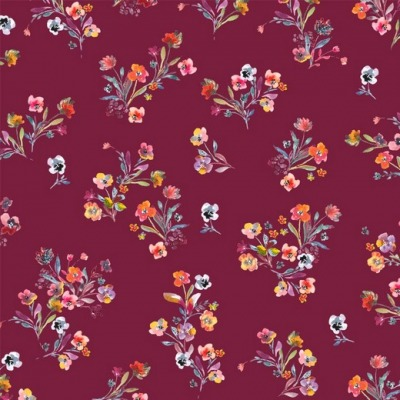 07793011 Jersey Stretch Digital Flower dunkelpink