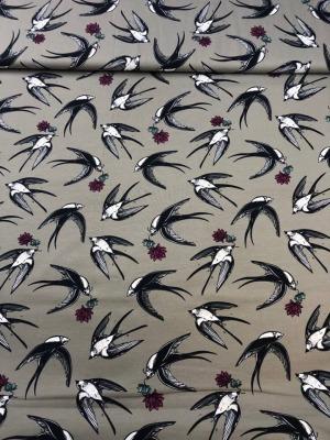 60304 Jersey Stretch Vögel Birds Schwalben grau