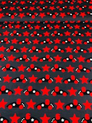 6059 Jersey Stretch Auto Rennauto Rennfahrer Sterne Stars grau / rot