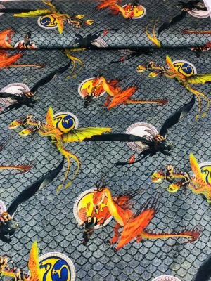 60865 Jersey Stoff Stretch Dragons Drache Ohnezahn grau cool