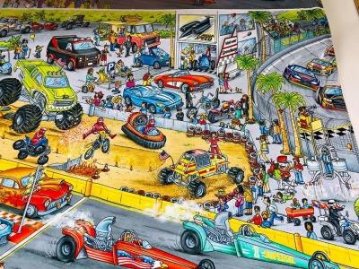 60909 Jersey Stretch Race Autos Wimmel Paneel