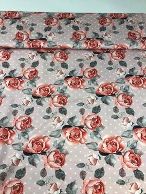 60919 Jersey Stretch Rosen Dots rosa edel