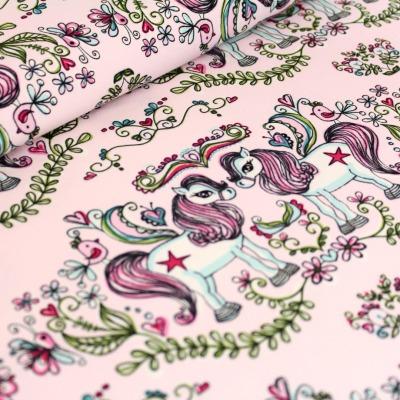 60965 Jersey Stretch Stoff Onkel Ponies rosa