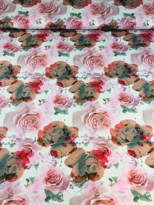 60989 Jersey Stretch Flower Rosen edel zart rosa