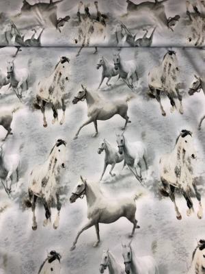 60990 Jersey Stretch Pferde hellgrau weis Digital