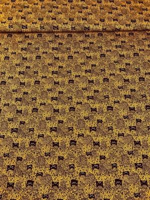 6957 Jersey Stretch Katzen Cats schwarz senf Swafing