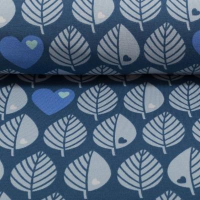80124 Outdoorstoff Softshell by Graziela Blätter blau