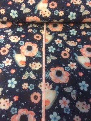 80137 Outdoorstoff Softshell Rotkelchen Schmetterlinge Butterfly Blumen dunkelblaugrundig