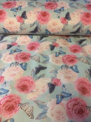 80138 Outdoorstoff Softshell Rosen Schmetterlinge Butterfly hellblaugrundig pastell
