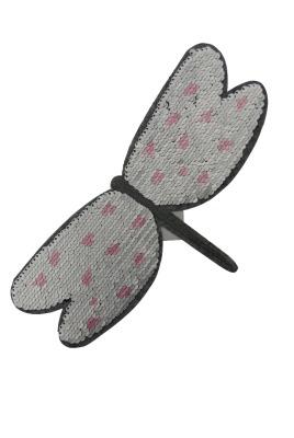 Libelle hellgrau/rose und dunkelgrau/silber zum aufnähen
