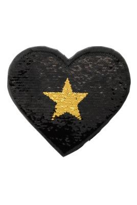 Herz silber/schwarz und schwarz/gold zum aufnähen