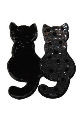 Katzenpaar silber/schwarz zum aufnähen
