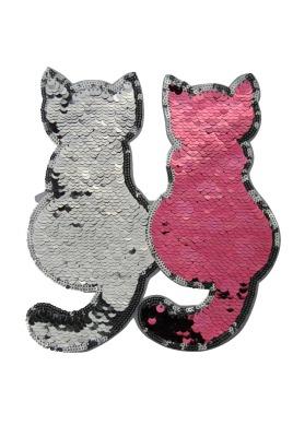 Katzenpaar silber/rose zum aufnähen