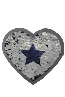 Herz mit Sterne silber / dunkelblau zum aufnähen
