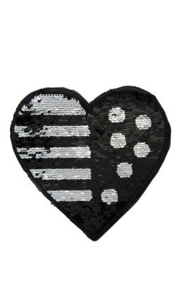 Herz schwarz /silber zum aufnähen